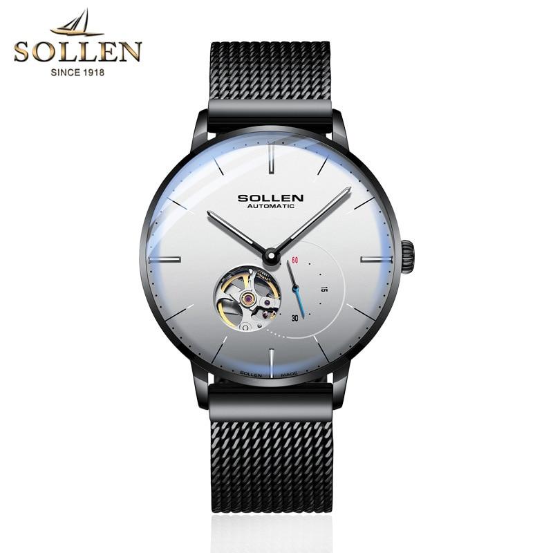 SOLLEN Mens Watches Top Brand Luxury Automatic Mechanical Watch Casual Steel Sapphire Waterproof Wristwatch Relogio Masculino