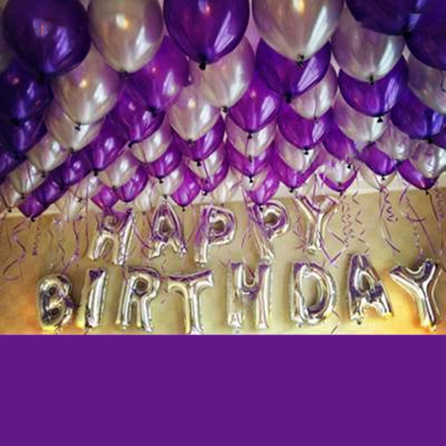 1 Set Aluminum Foil Balloon Packages Purple Birthday Silver Letters Adult Children Holiday Party Supplies Decorations Bars