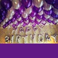 1 Zestaw folia Aluminiowa balon pakiety Fioletowy Srebrne litery dorosłych dzieci wakacje urodziny Zaopatrzenie firm dekoracje barów