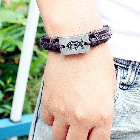 Kirykle-bracelet en cuir fait de ficelle colorée pour hommes et femmes, à breloque, Vintage, bijoux chrétiens, idée cadeau, jésus poisson, religion 6