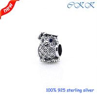 Fits Pandora Bracelets Owl Silver Charm With Mixed Cz 925 Sterling Silver Beads For Jewelry Making