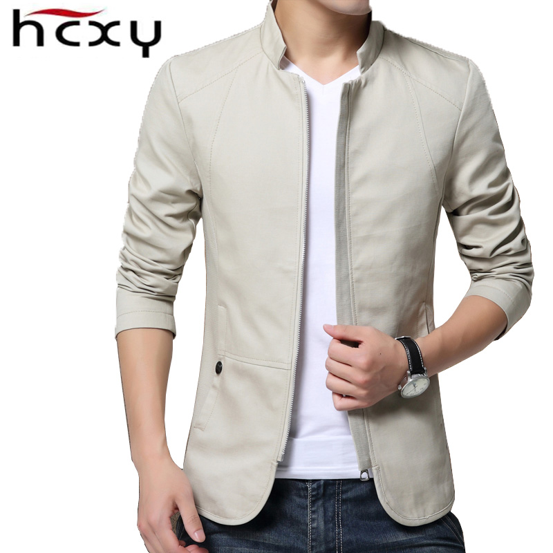 HCXY 2019 Spring Autumn Men's Casual Jackets Male Jackets and Coats coat men Outwear Solid colorZipper Slim Fit Full Cotton
