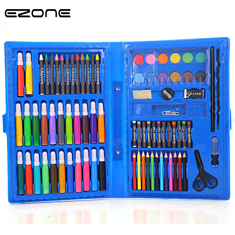 EZONE 86PCS in 1 kids 12Colors Marker Packet Set Children Painting Crayon Pencil Pigment For Art Drawing Supply Gifts Stationery touchnew 60 colors artist dual head sketch markers for manga marker school drawing marker pen design supplies 5type
