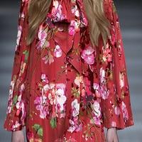 2016 new Advanced imported runway looks summer print mulberry silk crepe DE chine fabric tissu au meter bright cloth fashion