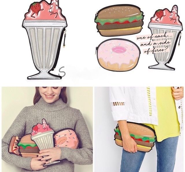 4 Color 2017 Fashion Cute Chamburger/Ice Cream/Donuts PU Leather Women Bags High Quality Party Bolsas Vintage Women Clutch A971