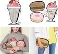 4 Cores 2017 Moda Bonito Chamburger/Ice Cream/Donuts PU Mulheres de Couro Sacos de Alta Qualidade Bolsas Do Partido Do Vintage mulheres Embreagem A971