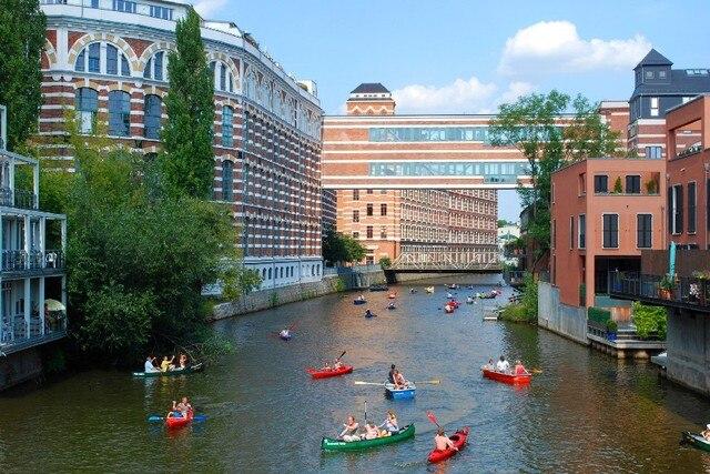Leipzig Fluss leipzig deutschland fluss boote häuser landschaft landschaft stoff