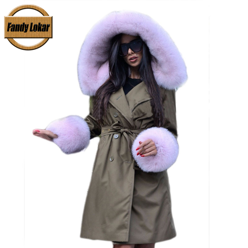 Warm Fox Fur Collar Coat With Belt Women Winter Real Rex Rabbit Fur Liner Loose Warm Jacket With Hat Women Fur Parka Female 2017 winter new clothes to overcome the coat of women in the long reed rabbit hair fur fur coat fox raccoon fur collar