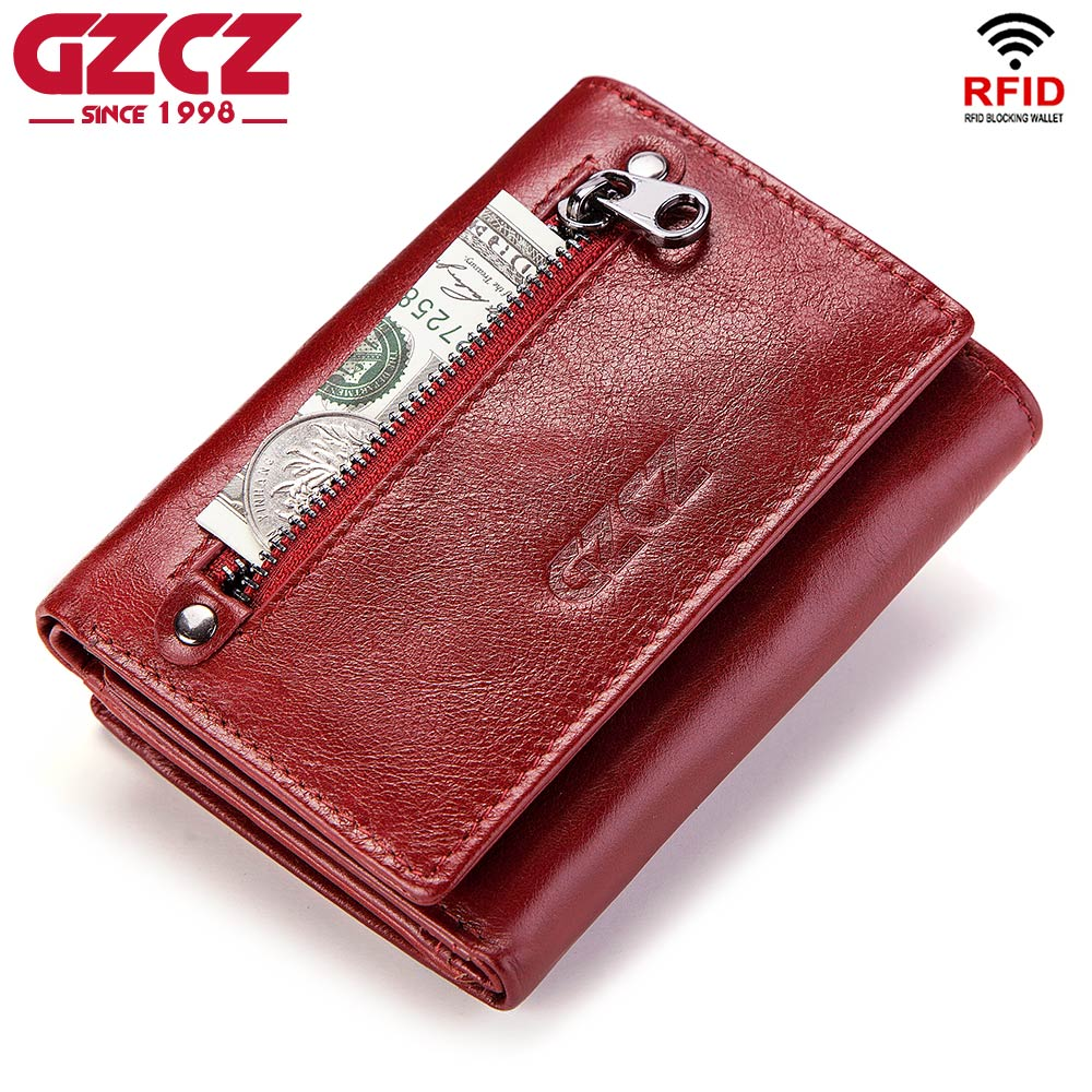 GZCZ Genuine Leather Slim Wallet Women Portafoglio Donna Coin Purse Womens Walet Female Portomonee Zipper Design RFID Blocking