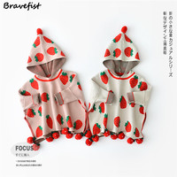 Lovely Ins Autumn Winter Baby Toddler Girl's Boy's Red Strawberry Cotton Warm Knitted Coats Outwear Sweater Cardigan With Cap