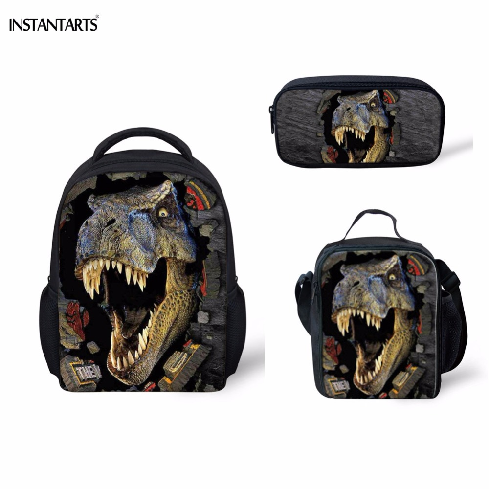 INSTANTARTS 3D Printing Dinosaur Kindergarten Students 3PCS Schoolbags Casual Children Boys Girls School Bags Mini Baby Backpack