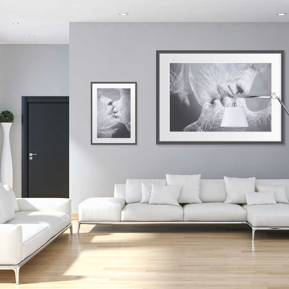Moda romántica en blanco y negro amor beso Arte Abstracto en pintura lienzo sin marco arte de la pared Poster impreso decoración del hogar