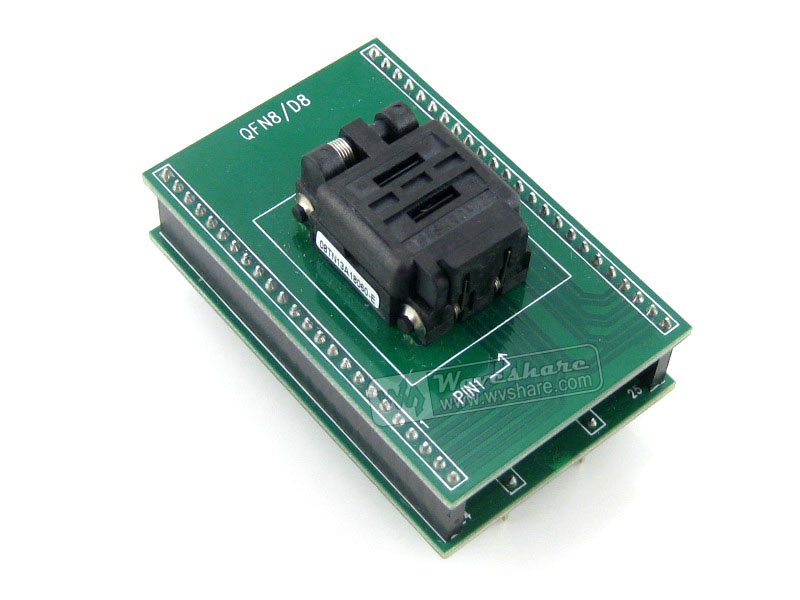 QFN8 TO DIP8 (B) # QFN8 MLF8 MLP8 Plastronics QFN IC Programming Adapter Test Burn-in Socket 8x6mm 1.3Pitch (Free Shipping) sop8 to dip8 programming adapter socket module black green 150mil