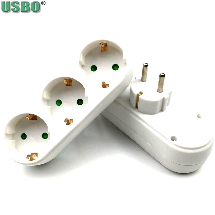 White EU 3pole Power Convert Plug Wall Socket 16A 250V 3way 2way Power Strip Outlet Triple German Standard Adapter Plug 3500w