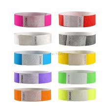 100 шт сплошной цвет 3/4 дюймов Тайвек браслеты с номерами серии, Тайвек бумага ID браслеты для вечерние мероприятия