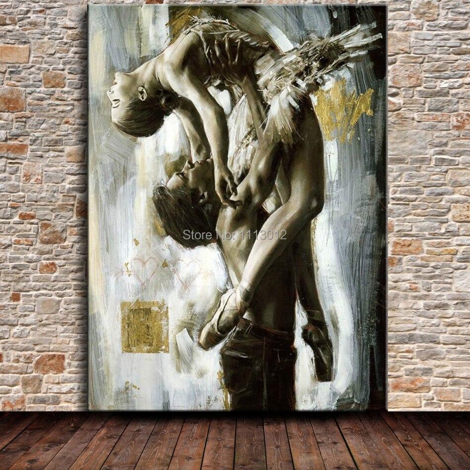 Venda Quente Ballet Dancer Pintura A Leo Sobre Tela Abstrato  -> Tapete De Sala Pintado A Mao