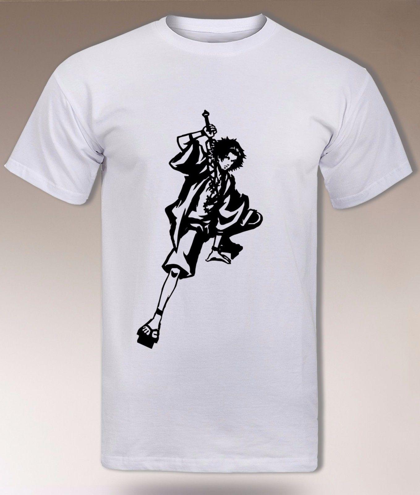 Samurai Champloo Mugen T Shirt, Jin Fuu, Edo era, Cool Anime Vagabond tee Men 100% Cotton Fashion T-Shirts top tee
