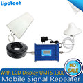 LCD Display full set GSM signal repeater 1900Mhz PCS signal booster Gain 70dB with outdoor indoor antenna mobile phone amplifier