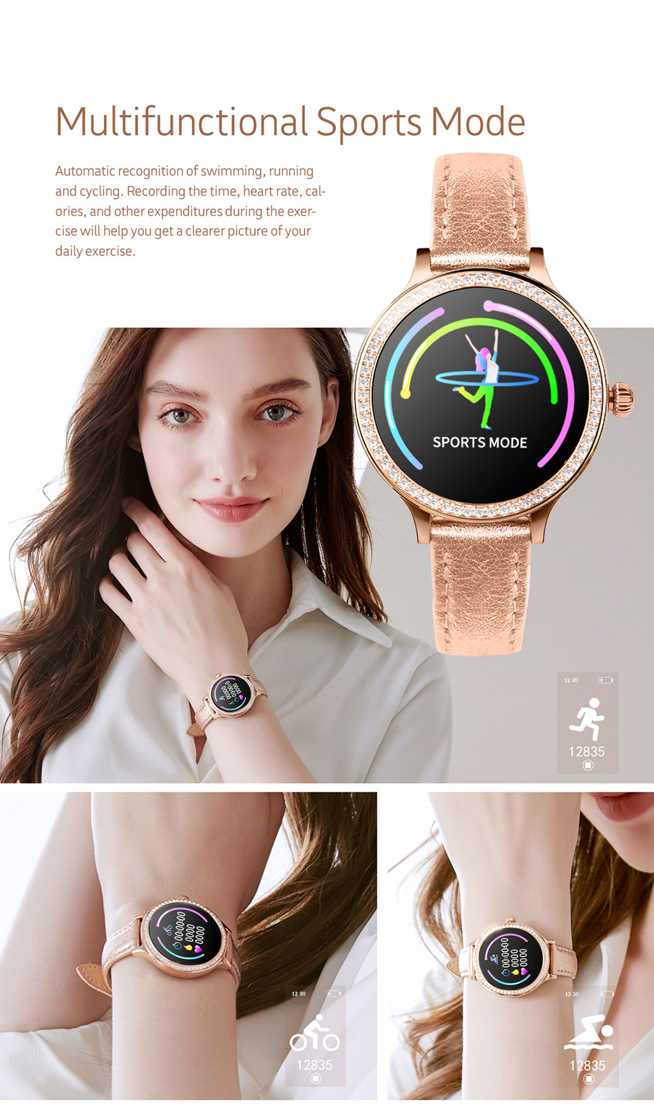 IP68 Smart Watch Women Fitness Bracelet Activity Tracker Heart Rate Monitor Blood Pressure Sports Smartwatch For Women