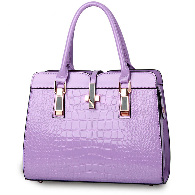 Elegant Purple Casual PU Women Handbag Crocodile Pattern Crosss Decoration Office Lady Shoulder Bag deep purple deep purple stormbringer 35th anniversary edition cd dvd