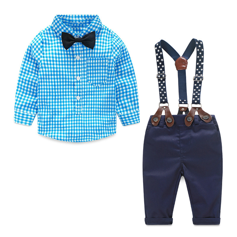 New Style Fashion Gentleman Newborn Suit Kids Clothes Baby Boys Long Sleeve Cotton Blue Plaid Shirt + Bib Pants 2pcs Set