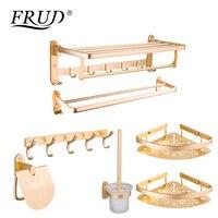 FRUD пространство Алюминий аксессуары для ванной наборы Золото Цвет настенные полотенца крюк товары семь штук Y38005