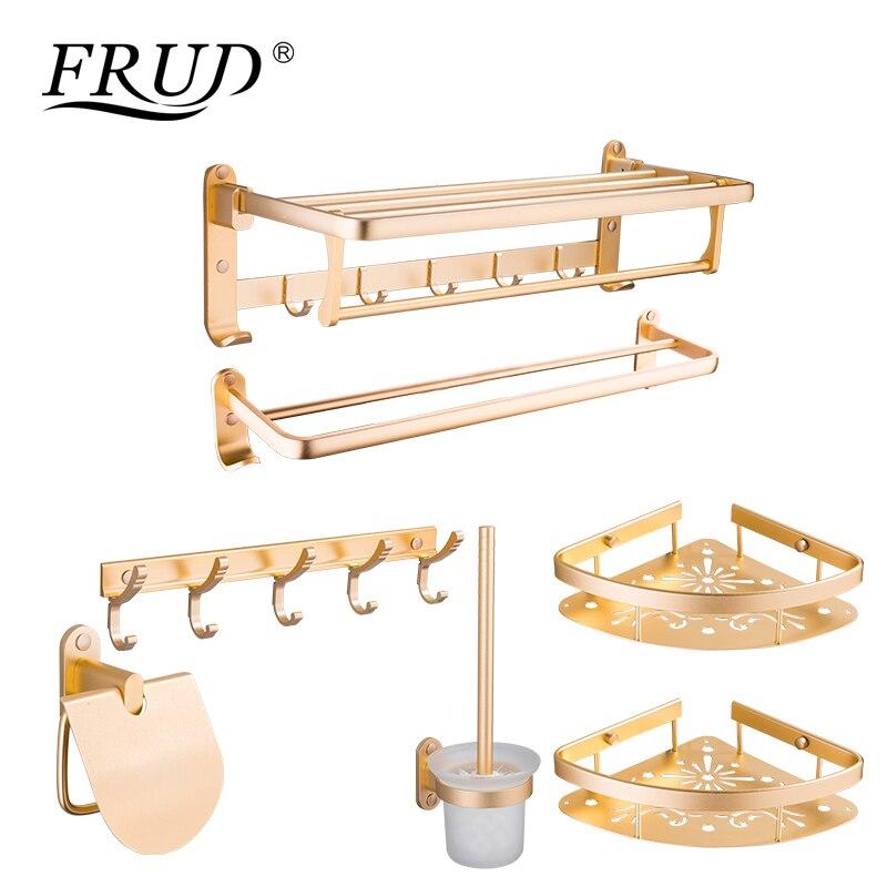 FRUD пространство алюминия Ванная комната оборудование наборы золотой цвет аксессуары настенные крючок Ванная комната Продукты семь штук