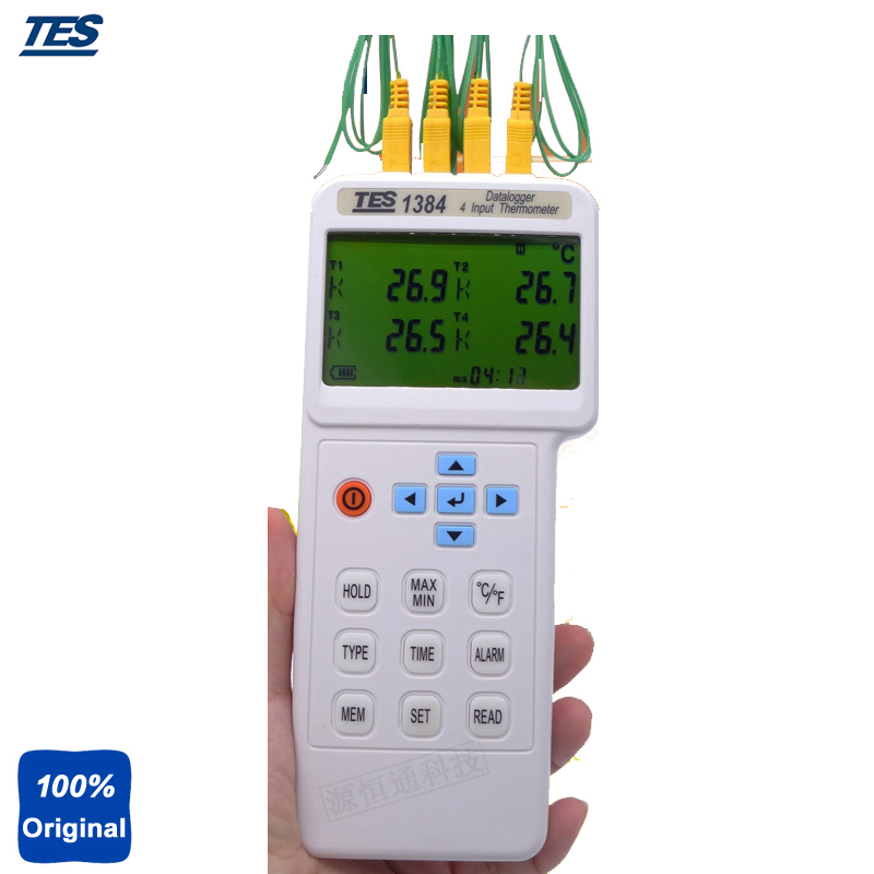 TES-1384 Highly Accurate 4 Input Function T1/T2/T3/T4 Temperature Display Thermometer Thermocouple with Datalogger
