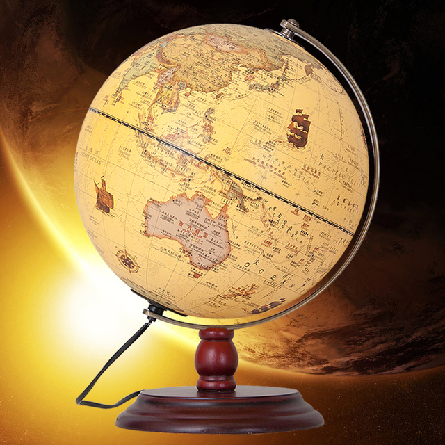 25cm Antique Earth Globe Table Lamp Geography Teaching World Map ...