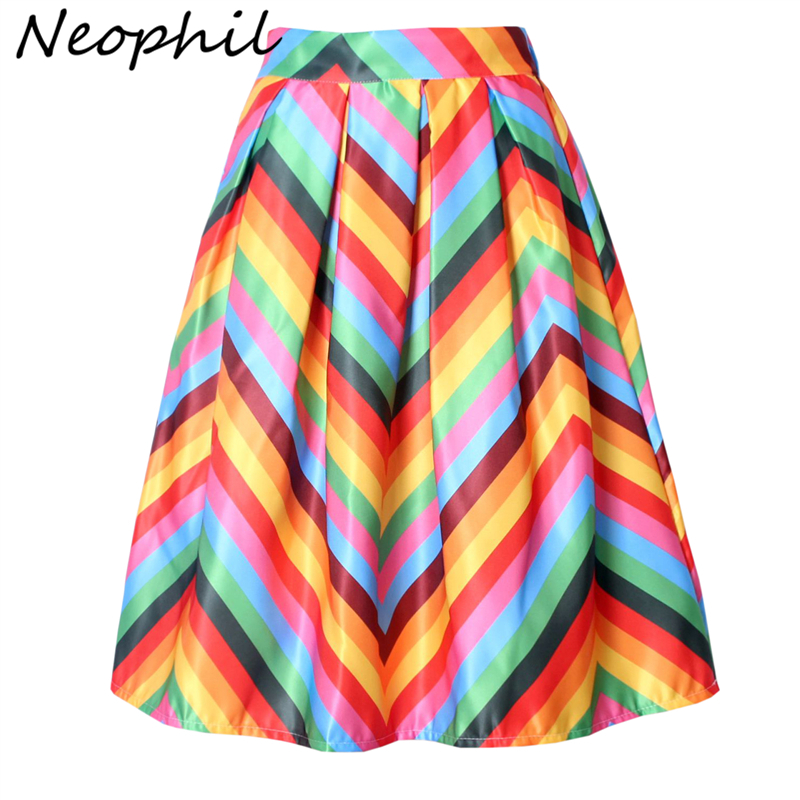 Neophil Rainbow Striped Fringe Printed 2020 Summer High Waist Jupe Femme Pleated Ruffle Flare Satin A-Line Womens Skirts S07048