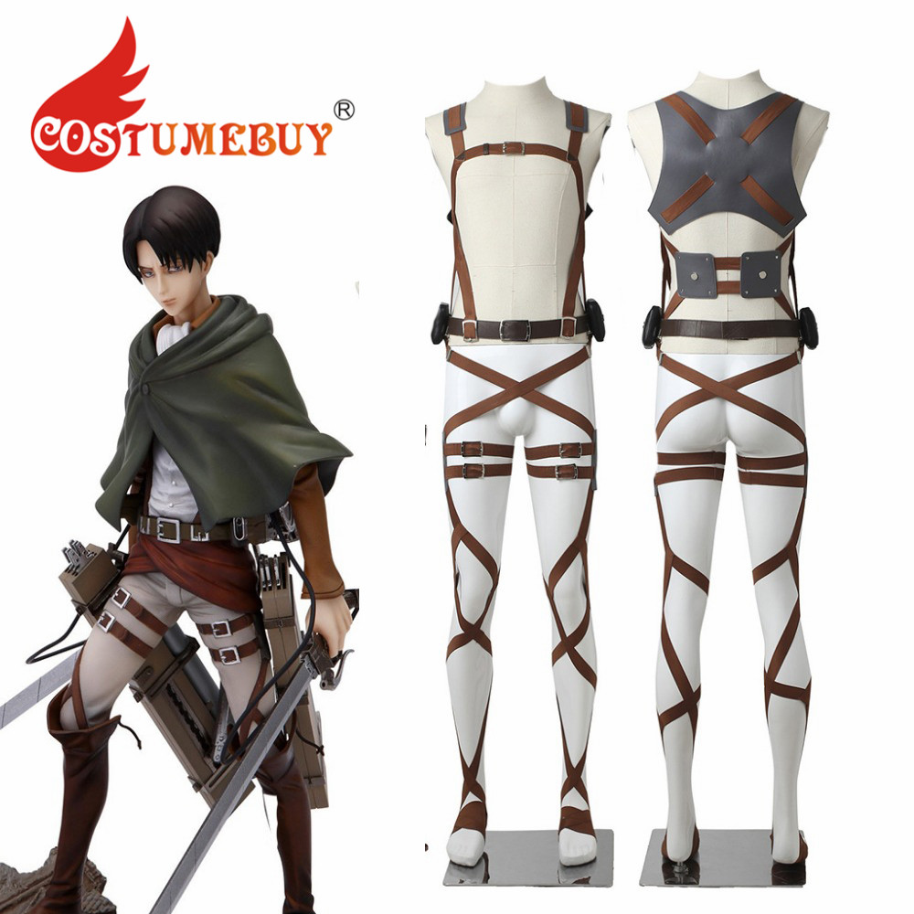 CostumeBuy Anime Attack On Titan Shingeki No Kyojin Cosplay Recon Corps Levi Ackerman Harness Belts Hookshot Props L920