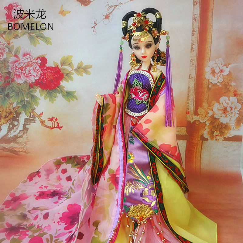 35CM Handmade Chinese Costume Dolls 1/6 Bjd Doll Tang Beauty Doll Brinquedo 12 Jointed Articulated doll Girl Toy Birthday Gift 31cm handmade bjd doll tang princess gao