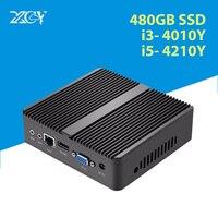 XCY безвентиляторный мини ПК Windows 10 Core i5 4200Y i3 4010Y микро компьютер HDMI VGA WiFi Настольный игровой офис бытовой usb ПК