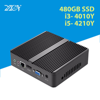 XCY Fanless Mini PC Windows 10 Core i5 4200Y i3 4010Y Micro Computer HDMI VGA WiFi Desktop gaming Office Household usb pc