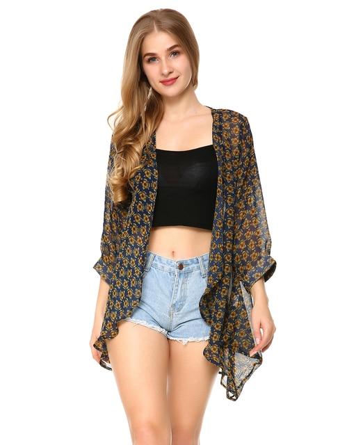 630d862e71 Women's Floral Print Sheer Chiffon Blouse 2018 Summer Vintage Loose Kimono  Cardigan Capes Holiday Beach Pareo Blusa Feminina