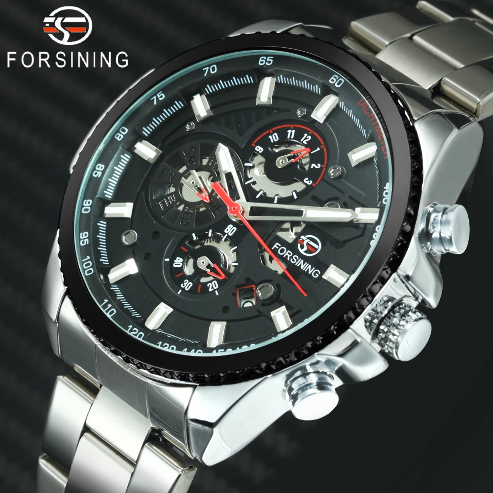 FORSINING Military Mens Watches Top Brand Luxury Auto Mechanical 3 Dials Chronograph Multifunction Top Brand Luxury Sport ClockFORSINING Military Mens Watches Top Brand Luxury Auto Mechanical 3 Dials Chronograph Multifunction Top Brand Luxury Sport Clock