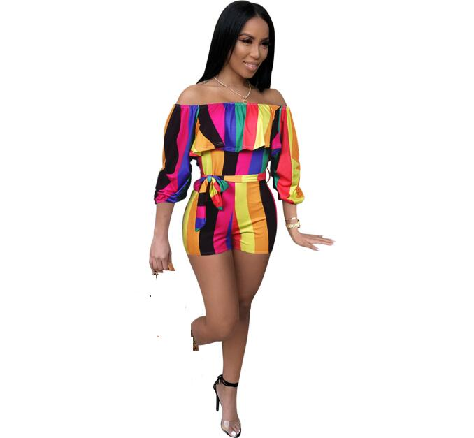 Summer Hot Design Off Shoulder Women Rompers Digital Print Women Short Jumpsuits Playsuits