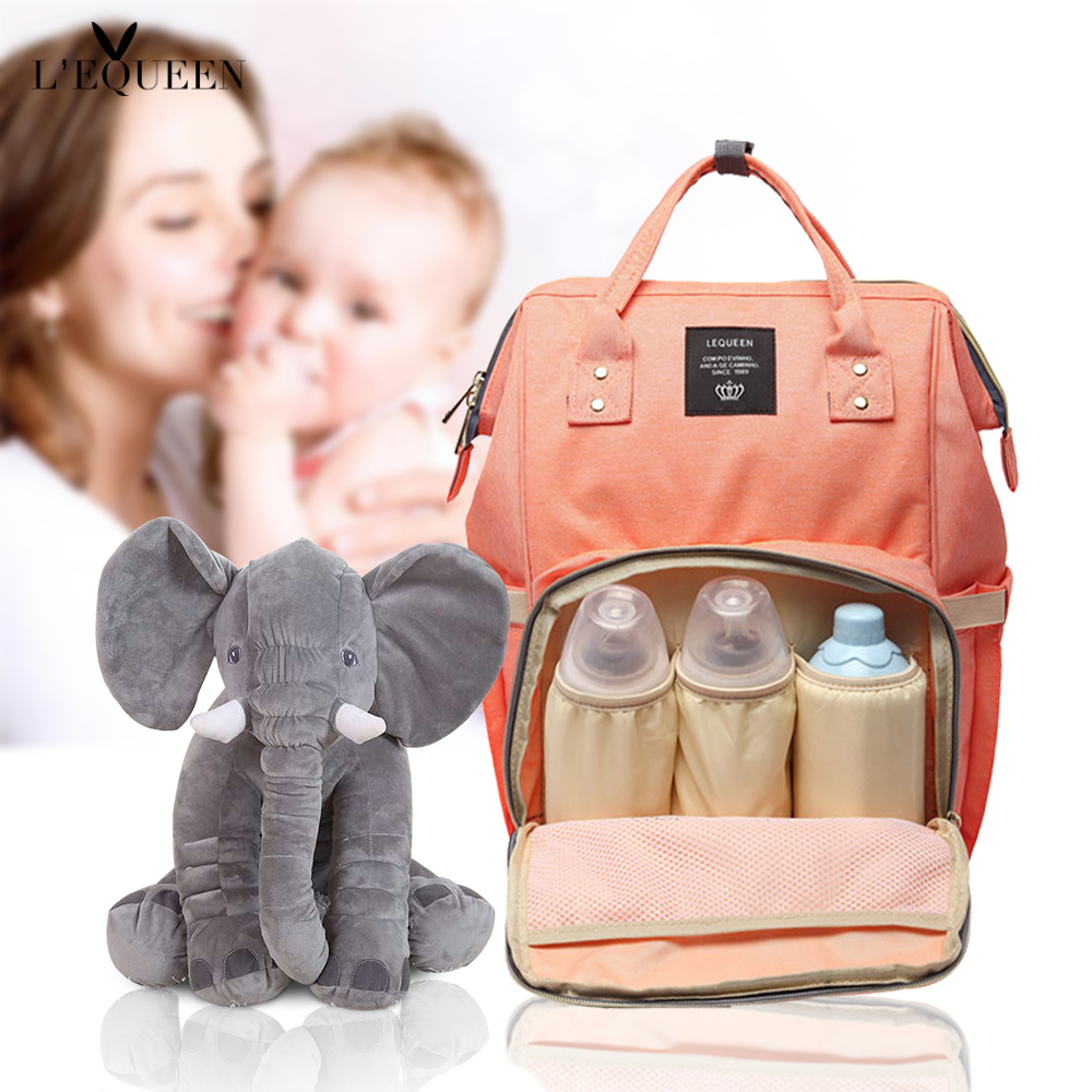 Lequeen Fashion Mummy Maternity Bag and elephant Large Capacity Baby Bag Travel Backpack Designer Nursing Bag