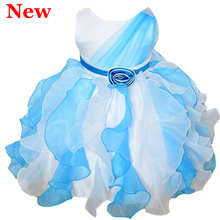 2016 New 2-7Y Girl Party Wedding Evening Sleeveless Princess Dresses Kid Pageant Frock First Communion Bridesmaid Ball Gown Tutu