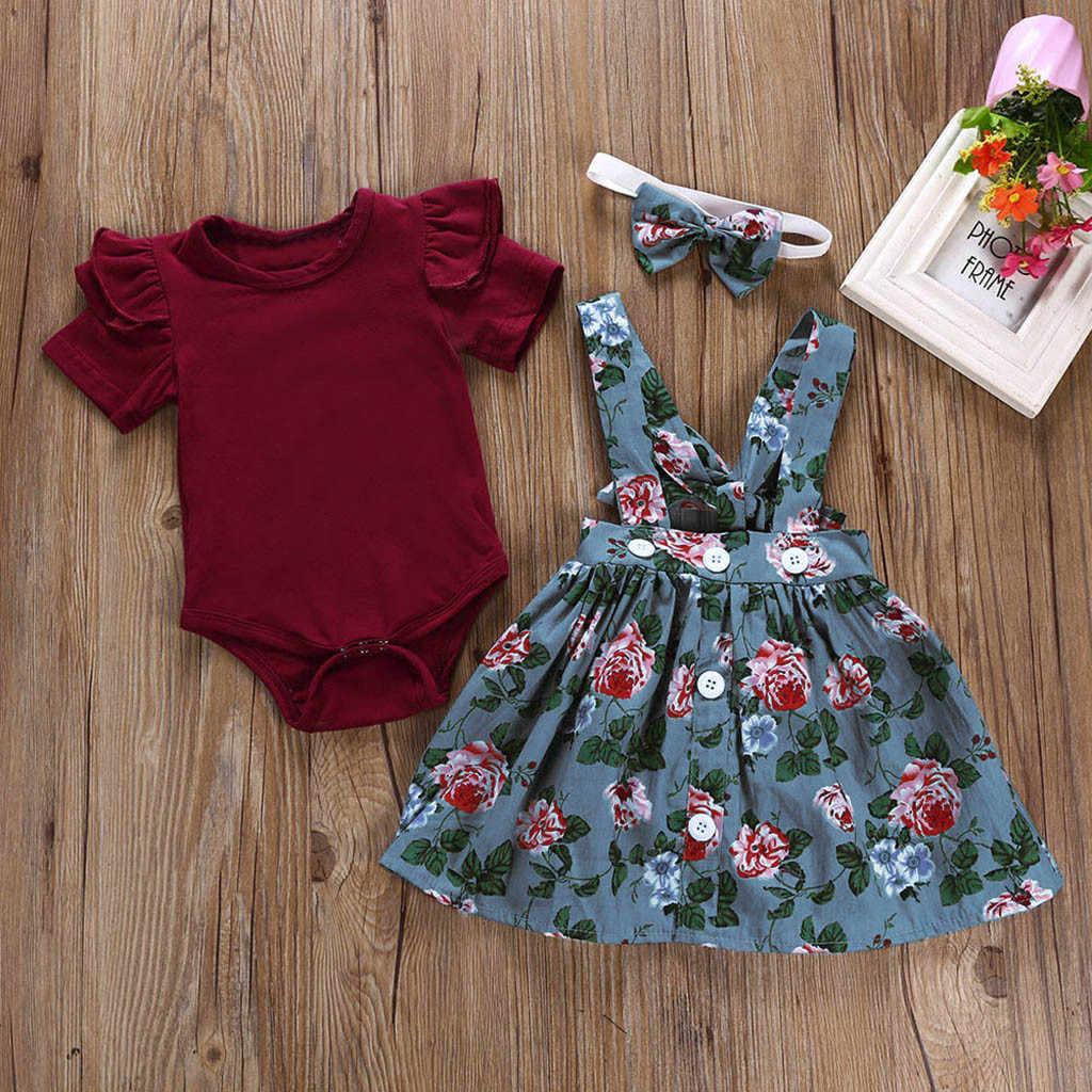 3 sztuk noworodka Baby Girl ubrania kombinezony spódnica + z pałąkiem na głowę + stałe Romper ubrania stroje Baby Girl ubrania letnie ropa recien nacido