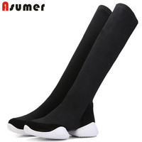 ASUMER black fashion spring autumn shoes woman flat with knee high boots casual sock boots 2018 new arrival shoes woman