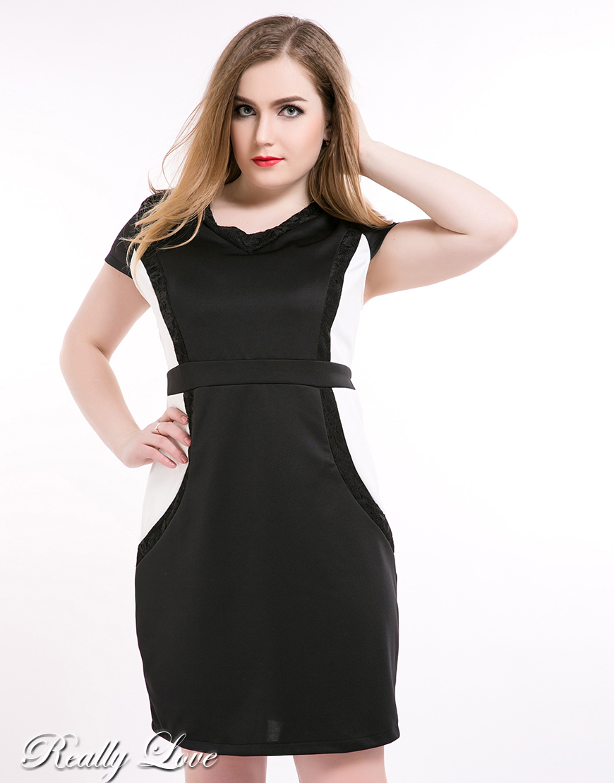 Black and white plus size cocktail dress