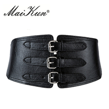 Fashion Wide Leather Belts for Women Retro Metal Pin Buckles Faux Elastic Woman Punk Waistband Dress