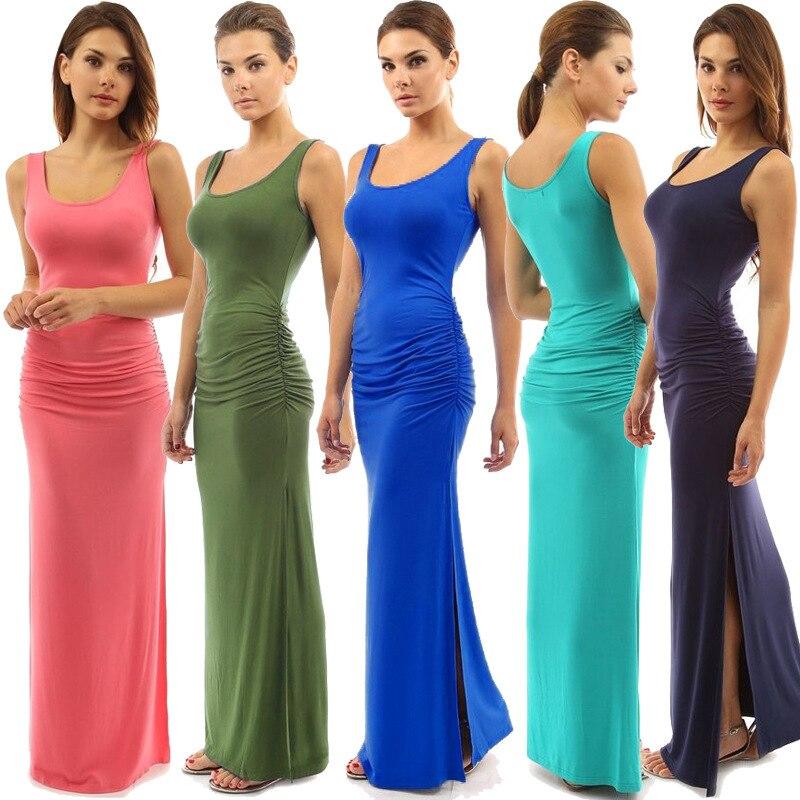 plus size Women Summer Long Classic Dress O-neck Slim pleated Casual sleeveless tank dress cocktail party dress hip slit dress