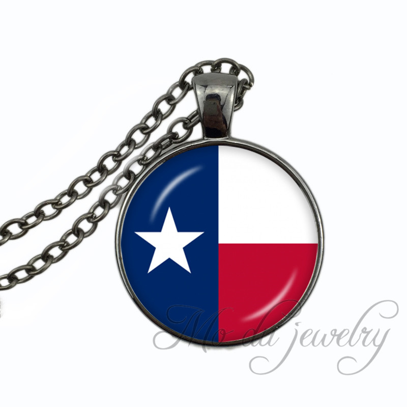 Texas State Flag Necklace Charming Vintage Flag of TX USA Resin Glass Cabochon Dome Pendant Long Necklaces Jewelry Special Gift ...