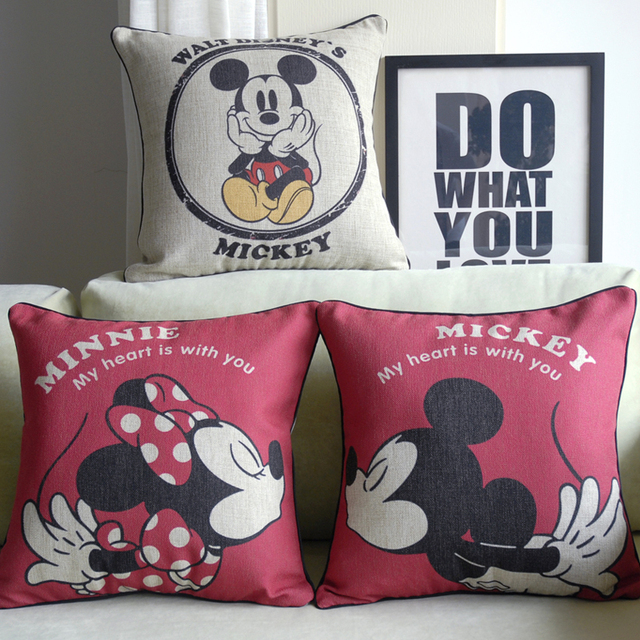 Minnie Pillow Cover Mickey Minnie Mouse Cartoon Lovers Wedding Gift Gorgeous Minnie Mouse Decorative Pillow