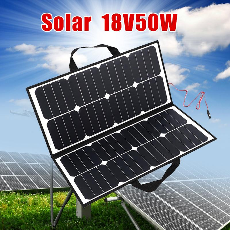 Portable Outdoor 50W 18V Camping Waterproof Folding Solar Panel Board Charger For Battery Covenience Outdoor Camping Tool portable outdoor 18v 30w portable smart solar power panel car rv boat battery bank charger universal w clip outdoor tool camping