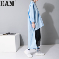 Soonyour 2017 Spring Summer Fashion New Oversize V Lead Front Long Back Short Solid Loose
