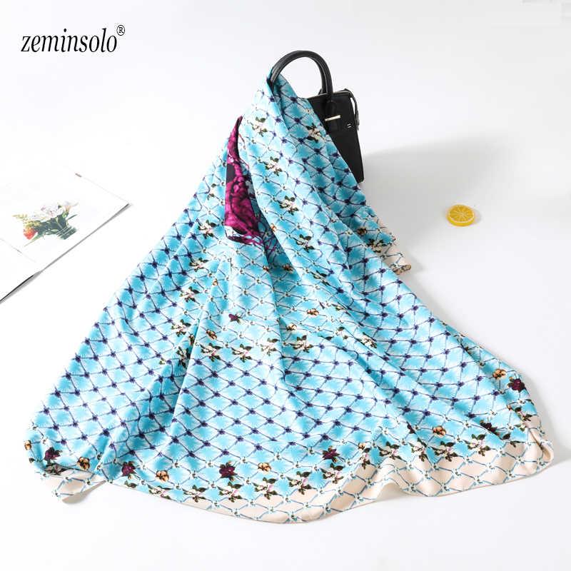 2019 bufanda de seda de sarga grande Bandana mujer moda Vintage Plaid estampado cuadrado cabeza chales bufandas marca de lujo Hijab 130*130 cm