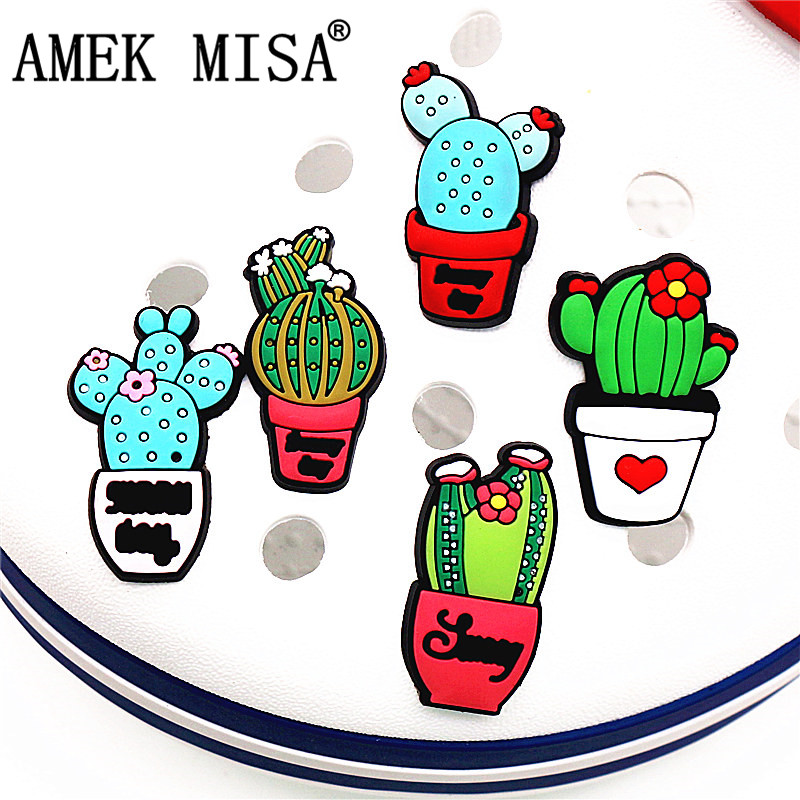 Single Sale 1 To 5Pcs Cute Cactus Shoe Charms Accessories Garden Shoe Decoration For Croc Jibz Kid's Party X-mas Free Shipping